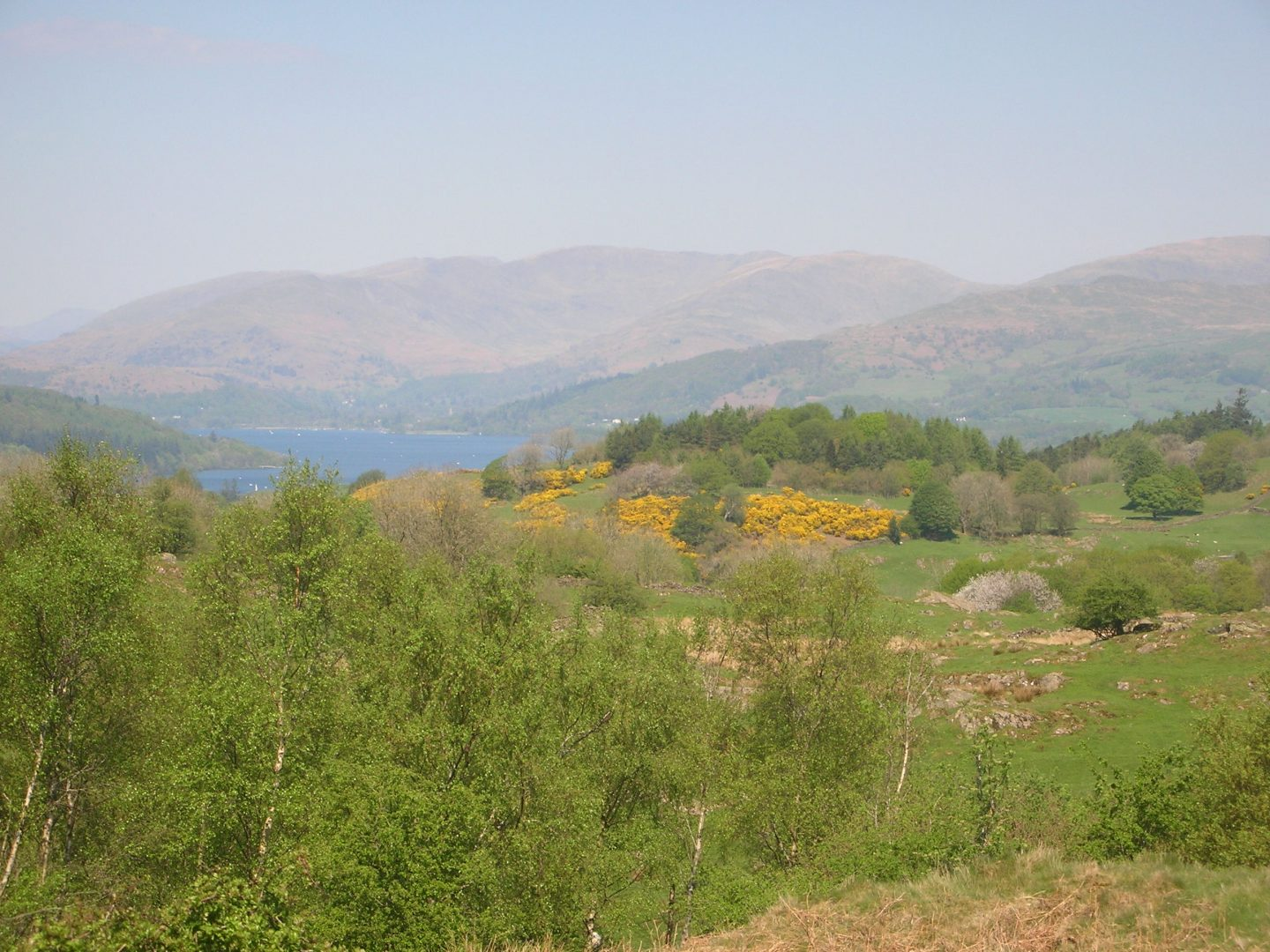 Cumbria, view of a distant lake