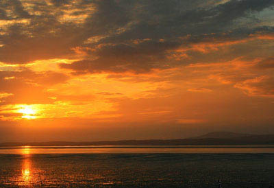 Sunset over Morcambe Bay, Cumbria.